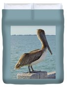 Pelican At The Gulf Duvet Cover