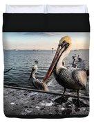 Pelican At The Pier Duvet Cover