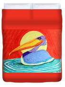 Pelican In The Sun  Duvet Cover