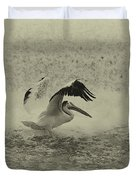 Pelican Landing In Black And White Duvet Cover by Thomas Young