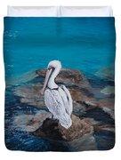 Pelican On The Rocks Duvet Cover