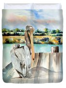 Pelican With An Attitude Duvet Cover