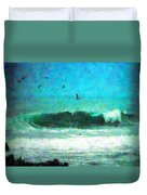 Pelicans Enjoying The Mighty Pacific Impressionism Duvet Cover