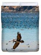 Pelicans Flocking On The Ocean Duvet Cover