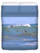 Pelicans Flying Between Waves 3788 Duvet Cover