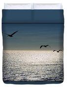 Pelicans In Flight Duvet Cover