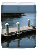 Pelicans On Dock In Florida Duvet Cover