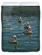 Pelicans On The Water In Key West Duvet Cover