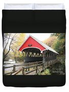 Pemigewasset River Covered Bridge In Fall Duvet Cover