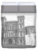 Pencil Drawing Of Old Jail Duvet Cover