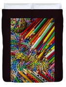 Pencils And Paperclips Duvet Cover