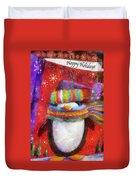 Penguin Happy Holidays Photo Art Duvet Cover