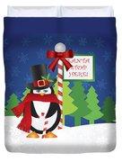 Penguin Top Hat At Santa Stop Here Sign Duvet Cover