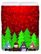 Penguins Carolers Singing With Red Winter Scene Illustration Duvet Cover