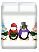 Penguins Singing Christmas Carol Cartoon Clipart Duvet Cover