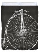 Penny-farthing 1867 High Wheeler Bicycle Patent - Gray Duvet Cover