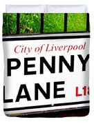 Penny Lane Sign City Of Liverpool England  Duvet Cover