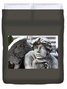 Pensive Angel Detail Monumental Cemetery Milan Italy Duvet Cover