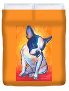 Pensive Boston Terrier Dog  Duvet Cover
