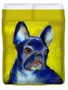 Pensive French Bulldog Portrait Duvet Cover