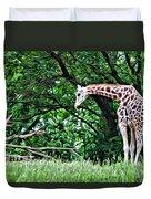 Pensive Giraffe Duvet Cover