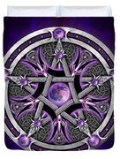 Pentacle Of The Purple Moon Duvet Cover