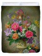 Peonies And Irises In A Ceramic Vase Duvet Cover