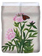 Peonies And Monarch Butterfly Duvet Cover