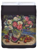 Peonies And Summer Fruit Duvet Cover