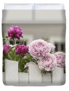 Peonies On A Picket Duvet Cover