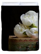 Peony Flowers On Old Hat Box Duvet Cover