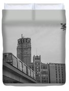 People Mover Downtown Detroit Duvet Cover