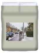 People On Bicycles In Winter Duvet Cover