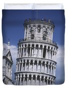 People On Top Of Leaning Tower Of Pisa Duvet Cover
