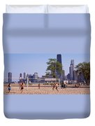 People Playing Beach Volleyball Duvet Cover