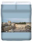 People Praying At At Western Wall Duvet Cover