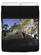 People Walking On The Path Leading To Shrine Of Vaishno Devi Duvet Cover