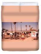 People Walking On The Sidewalk, Venice Duvet Cover