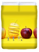 People Watching The Red Apples Duvet Cover by Paul Ge