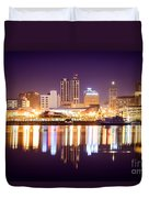 Peoria Illinois At Night Downtown Skyline Duvet Cover