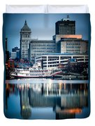 Peoria Illinois Cityscape And Riverboat Duvet Cover