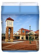 Peoria Illinois Riverfront Businesses And Clock Tower Duvet Cover