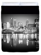 Peoria Illinois Skyline At Night In Black And White Duvet Cover
