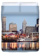 Peoria Illinois Skyline Duvet Cover
