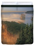 Perce Rock And The Three Sisters In Fog Duvet Cover