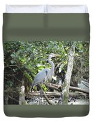 Perching Blue Heron Duvet Cover