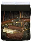 Percussion Cap And Ball Rifle With Powder Horn And Possibles Bag Duvet Cover