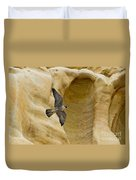 Peregrine Falcon Flying By Cliff Duvet Cover