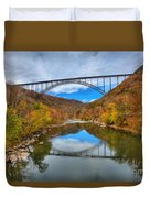 Perfect Reflections Of The New River Gorge Bridge Duvet Cover
