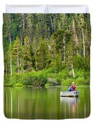 Perfect Sunday - Two People Fishing On A Lake In Mammoth California. Duvet Cover